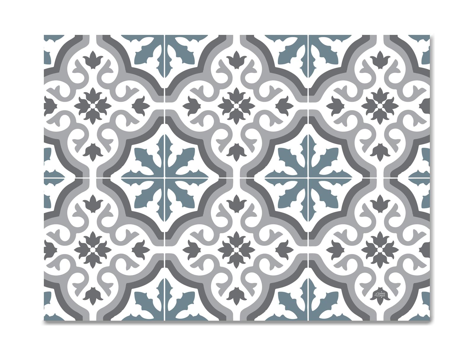 Set De Table Vinyle Carreaux De Ciment Modele Trianon Bleu
