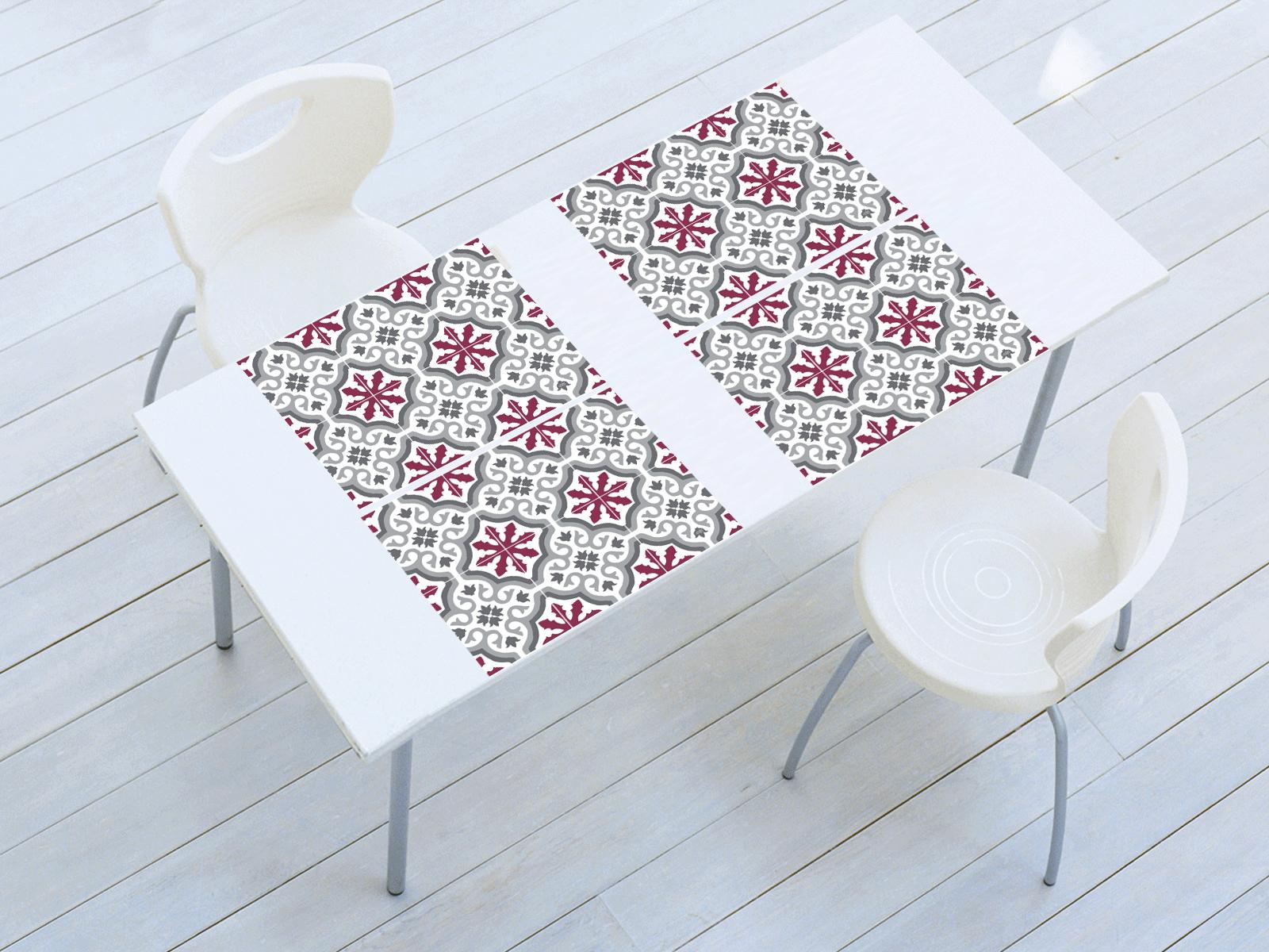 set de table vinyle carreaux de ciment mod le trianon pourpre. Black Bedroom Furniture Sets. Home Design Ideas