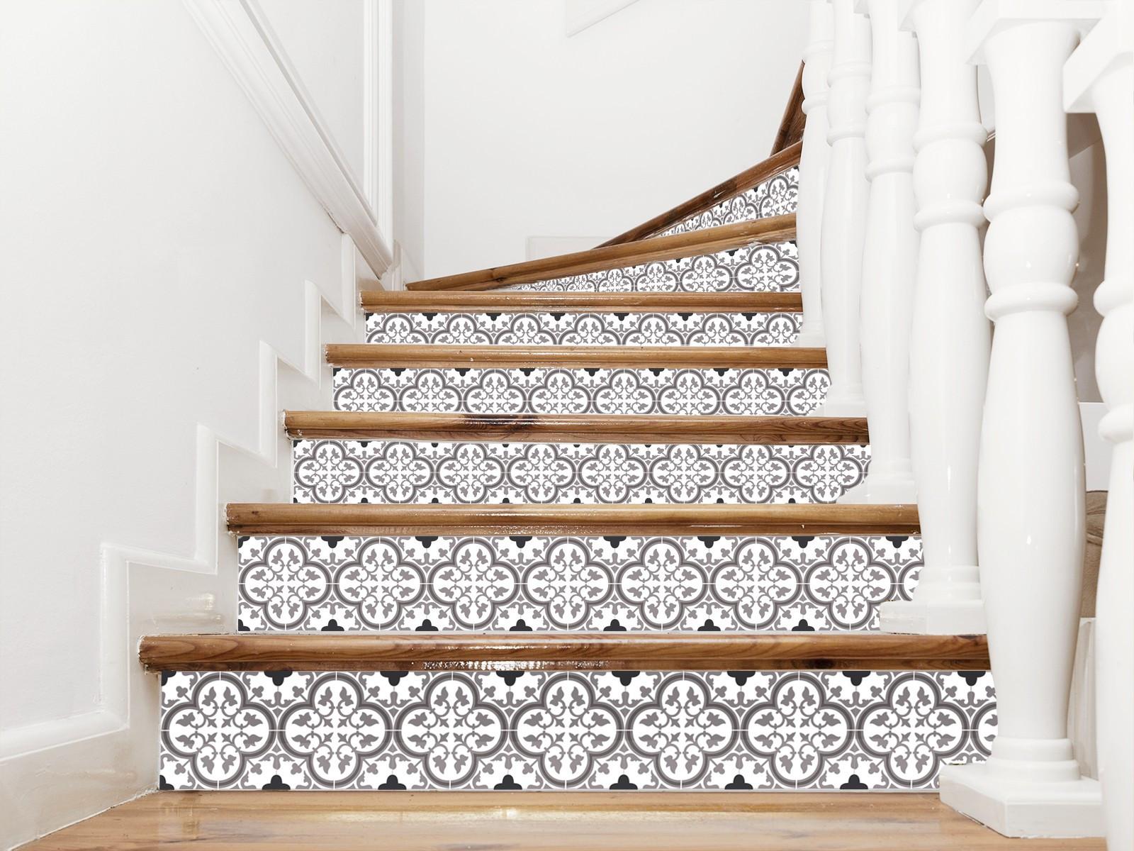 Ajouter Des Contre Marche Escalier adhésif carreaux ciment pour contremarches modèle tuileries moka