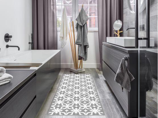 tapis vinyle carreaux de ciment castiglione gris