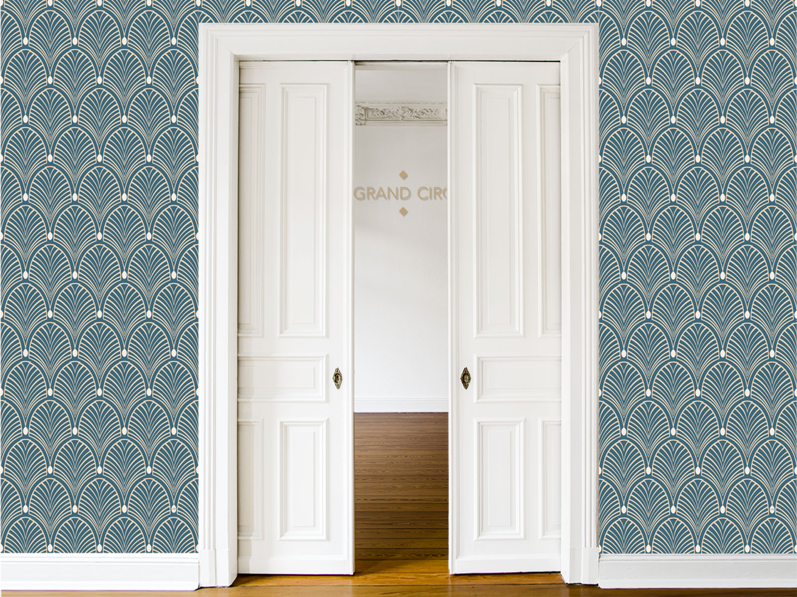 papier peint adh sif art d co mod le gatsby bleu. Black Bedroom Furniture Sets. Home Design Ideas