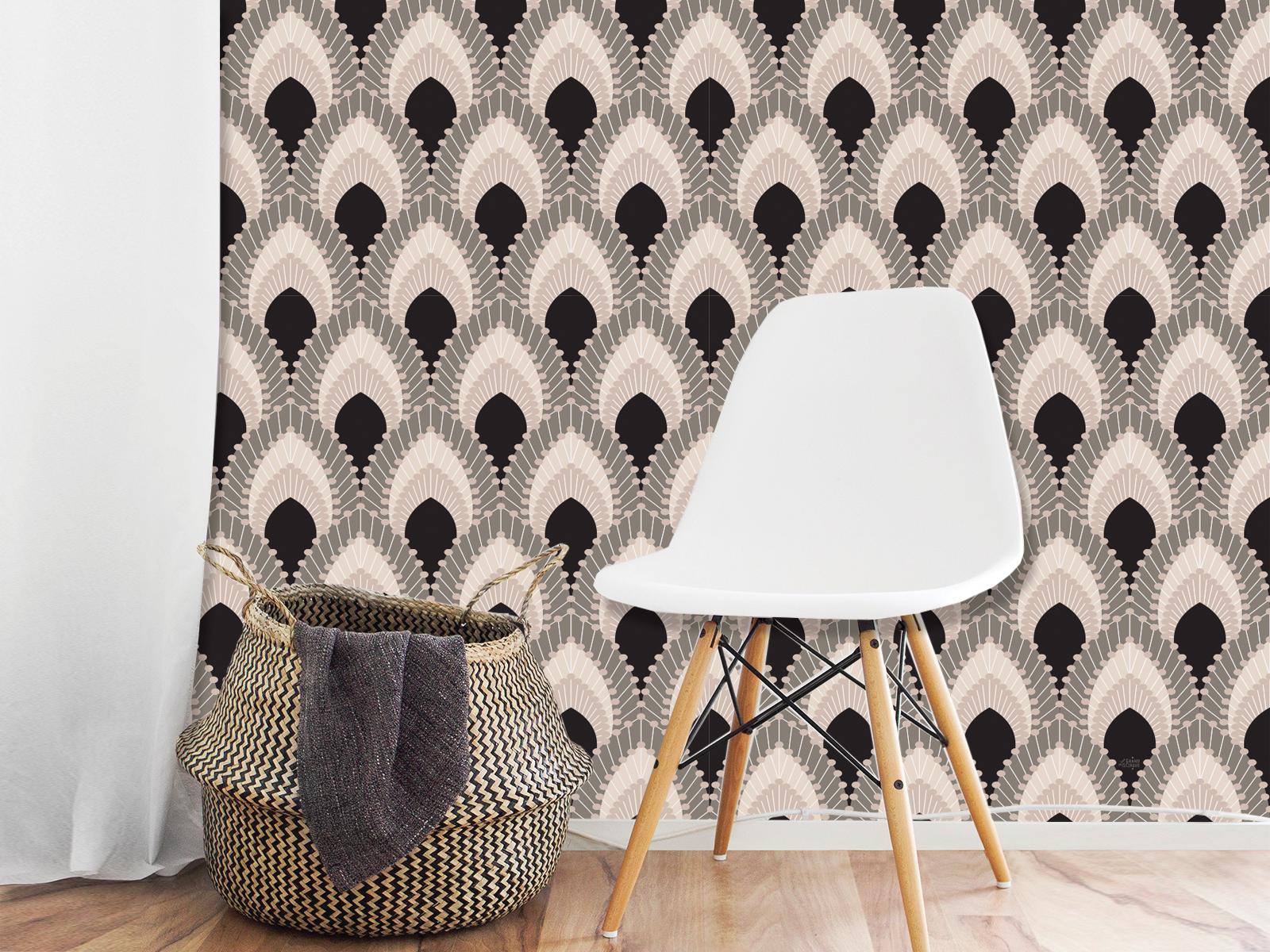 papier peint adh sif r tro plumes de paon. Black Bedroom Furniture Sets. Home Design Ideas