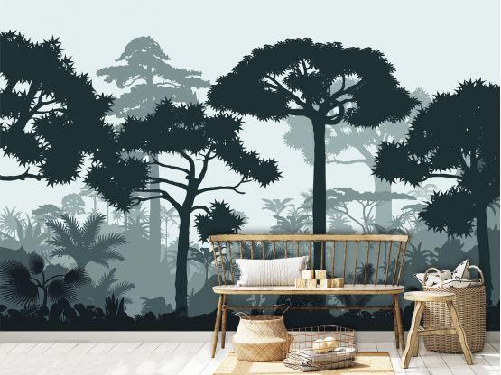 Panoramique adhésif Douanier Rousseau vert sauge - Papier peint panoramique - Le Grand Cirque