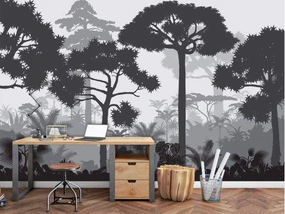 Panoramique adhésif Douanier Rousseau gris - Papier peint panoramique - Le Grand Cirque