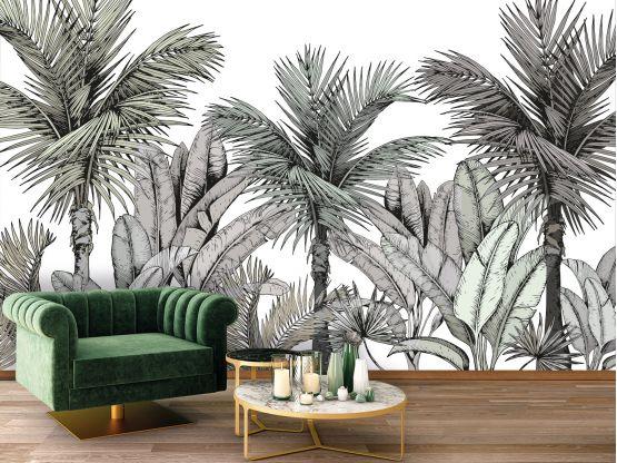 Panoramique adhésif Esquisse végétale - Papier peint panoramique - Le Grand Cirque