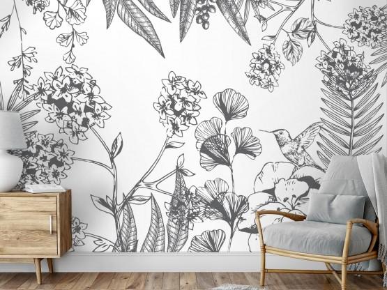 Papier peint panoramique adhésif Orée du bois Gris foncé - PNV-ORE-GF - Le Grand Cirque