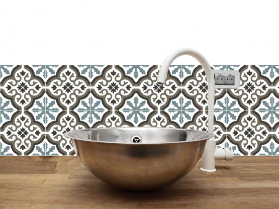 cr dence adh sive carreaux de ciment trianon bleu. Black Bedroom Furniture Sets. Home Design Ideas