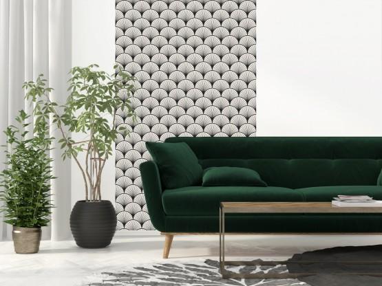 papier peint adh sif art d co mod le seigaiha noir. Black Bedroom Furniture Sets. Home Design Ideas