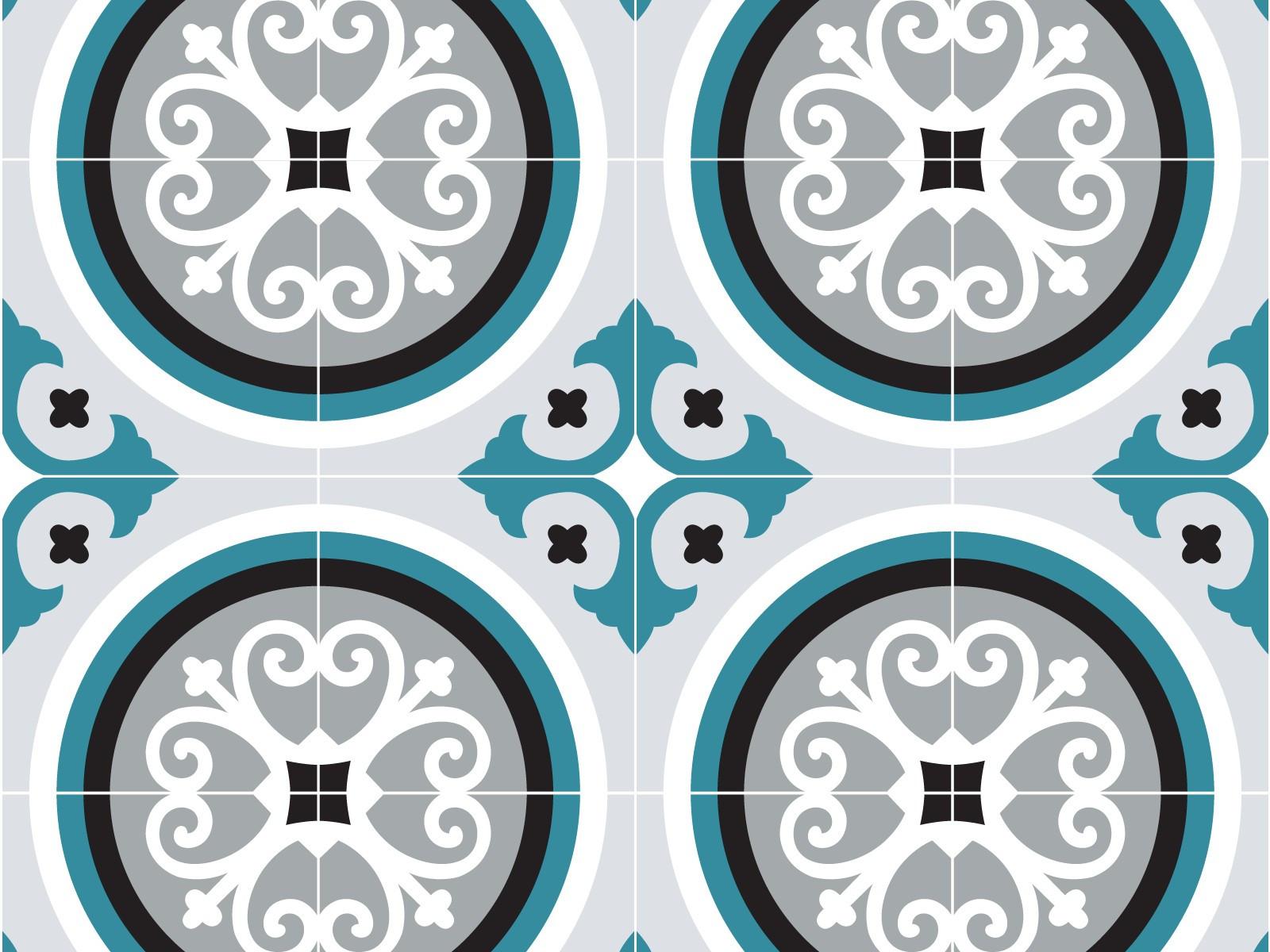 cr dence adh sive carreaux de ciment rosace bleu paon. Black Bedroom Furniture Sets. Home Design Ideas