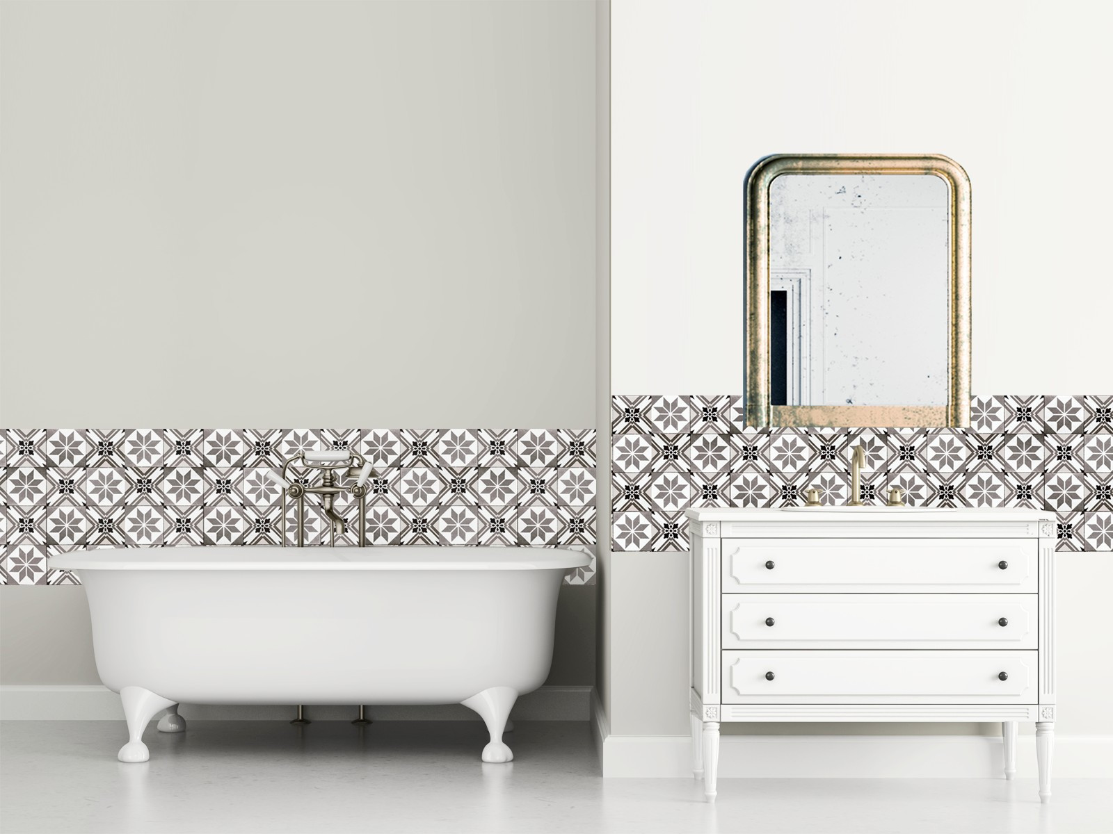 cr dence adh sive carreaux de ciment cadix greige. Black Bedroom Furniture Sets. Home Design Ideas