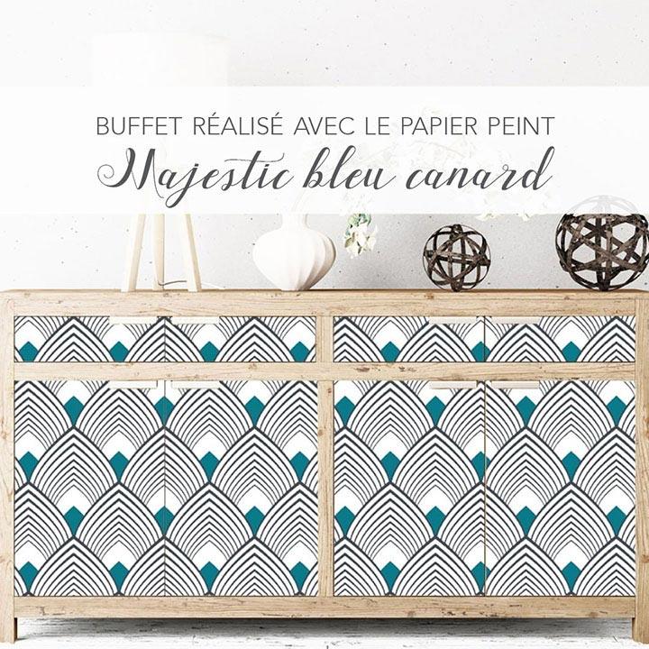 Customisation meuble buffet papier peint Majestic Bleu canard Le Grand Cirque