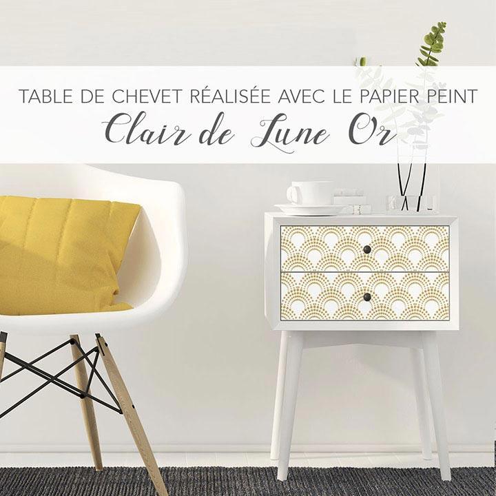Relooking table de nuit papier peint CLAIR DE LUNE Or