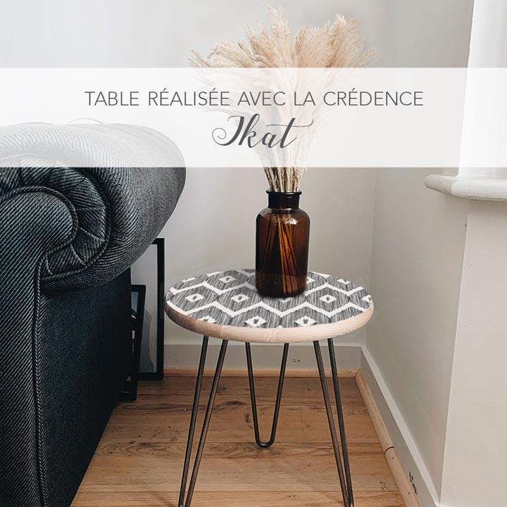 Table Guéridon crédence adhésive Ikat