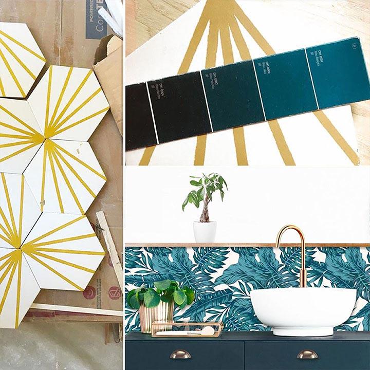 Décoration bleu paon et or