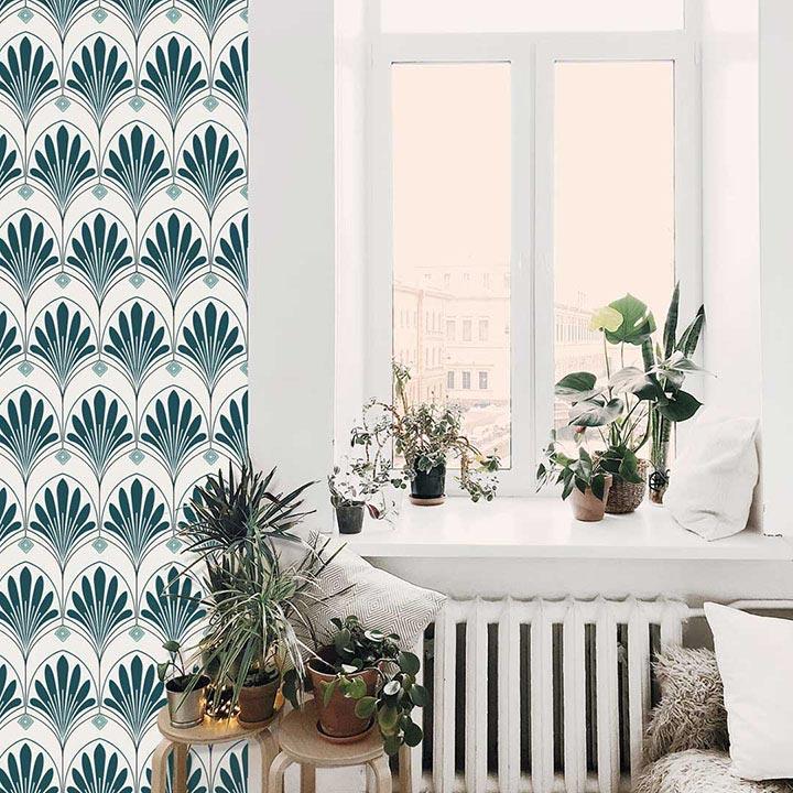 ambiance luxuriante papier peint adhésif Lotus Jade