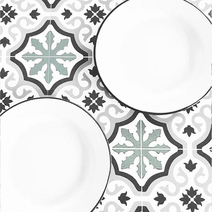 Motif Trianon Vert aqua sur table salle à manger